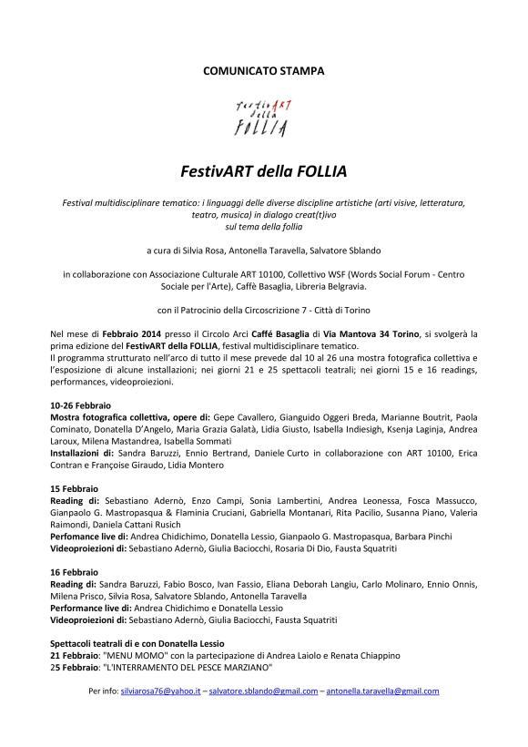 :: comunicato stampa FestivArt della Follia 2014 ::